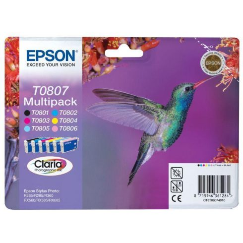 T0807 MULTIPACK 6IN1 EREDETI EPSON TINTAPATRONSZETT (EASY MAIL PACKAGE)