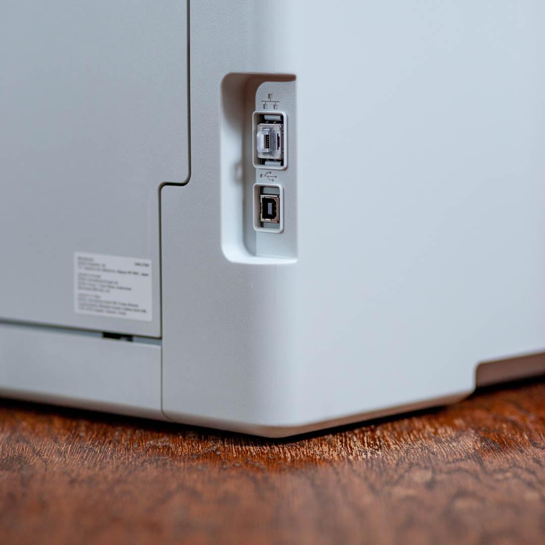 Brother L3550CDW színes LED nyomtató és szkenner USB2.0 és Ethernet csatlakozója